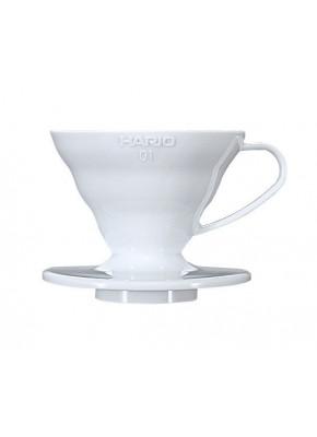 Пуровер Hario V60 01 белый пластиковый для заваривания кофе на 1-2 чашки