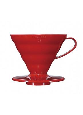 Пуровер Hario V60 02 красный пластиковый для заваривания кофе на 1-4 чашки